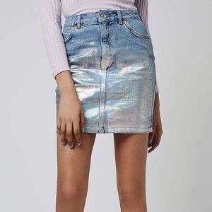 Topshop Holographic Denim Skirt